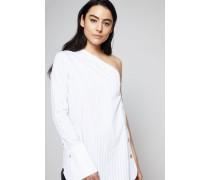 Gestreifte One-Shoulder-Bluse Weiß/Blau - 100% Baumwolle