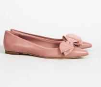 Ballerina mit Schleifenapplikation 'Rosalind Ballet Flat' Pink Magnolia - Leder
