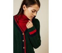 Woll-Cashmere-Cardigan Grün/Rot/Blau