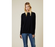 Oversize Woll-Pullover Dunkelblau