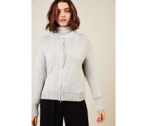 Woll-Cardigan Silber/Grau - Leder