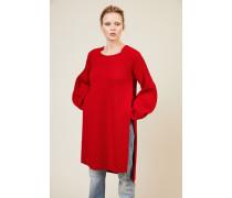 Strick-Kleid mit Schlitzen Rot
