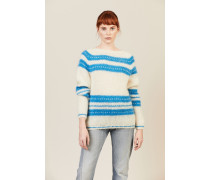 Oversize Mohair Pullover Blau/Weiß