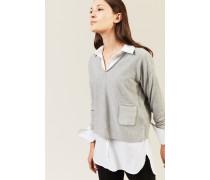 Cropped V-Neck Pullover Grau
