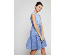 Kleid mit Raffungen Hellblau - 100% Baumwolle