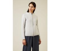 Woll-Seiden-Cardigan mit Perlenverzierung Grau
