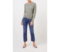 Cashmere-Pullover mit Strickmuster Salbei