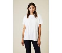 T-Shirt mit Stern-Stickerei Weiß