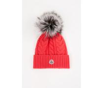 Woll-Cashmere-Mütze mit Zopfmuster Pink