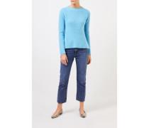 Cashmere-Pullover mit Strickdetail Hellblau