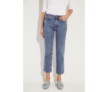 High-Rise-Jeans 'Daily Crop' Blau