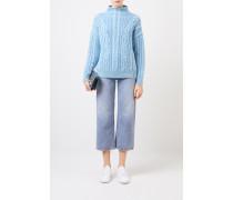 Cashmere-Pullover mit Zopfstrickmuster 'Fae' Blau