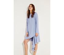 Kurzes Woll-Kleid mit asymmetrischem Saum Blau