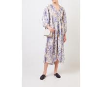 Langes Seidenkleid mit Print Crème/Blau