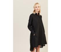 Kleid mit Spitzenverzierung 'Lace Back Shirt Dress' Schwarz
