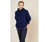 Woll-Cashmere-Pullover mit Turtle-Neck Blau