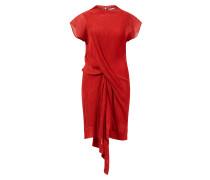 Plissiertes Baumwoll-Seiden Kleid Rot