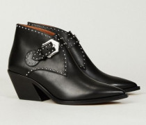Verzierter Ankle Boots Schwarz - Leder