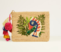 Clutch 'Tilly the Toucan' mit frontalem Motiv Beige/Multi