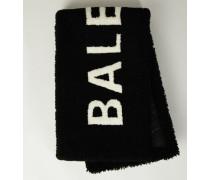 Lammfell-Schal mit Logo-Schriftzug Schwarz
