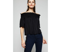 Semitransparentes Crop-Top Schwarz - Seide