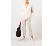 Woll-Pullover mit V-Neck Crème