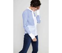 Patchwork Baumwollbluse Blau/Weiß - 100% Baumwolle