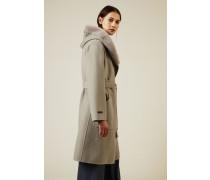 Feiner Cashmere-Woll-Mantel mit Pelzdetail Taupe - Cashmere