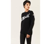 Woll-Cashmere-Pullover mit Schriftzug Schwarz