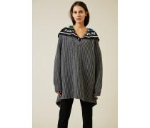 Oversized Wollpullover mit Applikation Grau