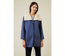 Kurze Cashmere-Jacke mit Nerzbesatz Blau - Cashmere
