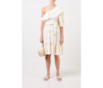 One-Shoulder Kleid mit Gürtel Weiß/Crème