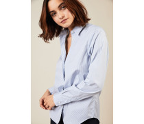 Gestreifte Baumwoll-Bluse Weiß/Blau