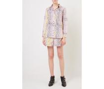 Baumwoll-Shorts mit Leoprint Violett/Gelb