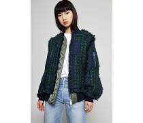 Aufwendige Blouson-Tweedjacke Grün