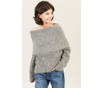 Pullover mit breitem Kragen Grau
