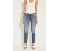Jeans 'Pyper Cropped' mit Used-Look Blau