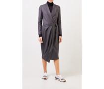 Woll-Hemdblusenkleid mit Wickeldetail Anthrazit