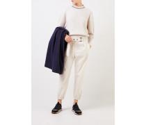 Cashmere-Pullover mit Rückenausschnitt Beige