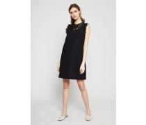 Kleid mit Spitze Schwarz - Seide