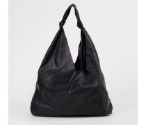 Leder-Tasche 'Bindle Two' mit Knotendetails Schwarz