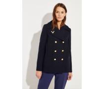 Woll-Jacke mit goldfarbenen Details Blau