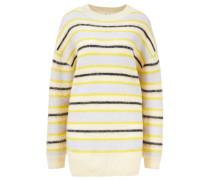 Oversize Pullover 'Karalynn Fluffy Alpa' gestreift Gelb/Blau
