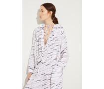 Seiden-Kleid mit Plissee-Details Weiß/Schwarz