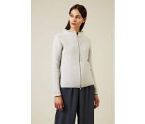 Woll-Seiden-Cardigan mit Perlenverzierung Grau - Cashmere