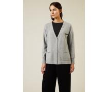 Oversize Woll-Seiden-Cardigan mit Perlenverzierung Grau - Cashmere