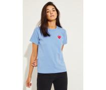 T-Shirt mit Herz-Emblem Blau