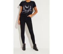 Skinny Jeans mit ausgefranstem Saum 'Alana' Schwarz