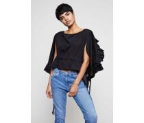 Bluse mit Raffungen und Bindeelement Schwarz - 100% Baumwolle