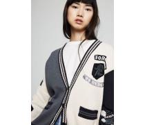 Baumwoll-Cardigan mit Emblemen Multi - 100% Baumwolle